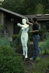 Enlightened Photographer - Human Statue being made up for Garden